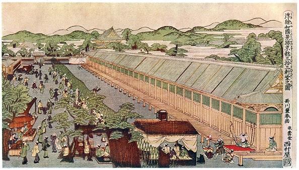 浮絵 和国景跡京都三拾三軒堂之図