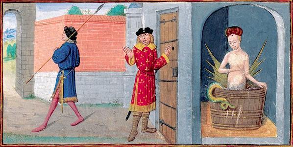 クードレットによる『メリュジーヌ物語』で描かれた、入浴中のメリュジーヌと覗き見るレイモン(レモンダン)