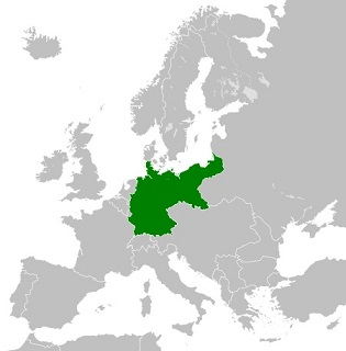 第一次世界大戦前の1914年のドイツ帝国の領域