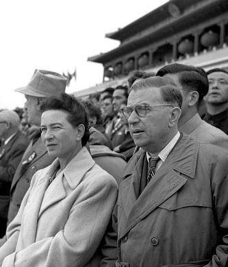 1955年に北京でシモーヌ・ド・ボーヴォワールとジャン=ポール・サルトル