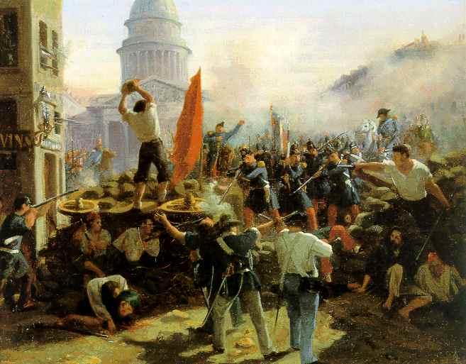 1848年革命時のパリでのバリケード戦の様子を描いた絵画