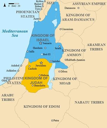 紀元前830年代のユダ王国(黄色)