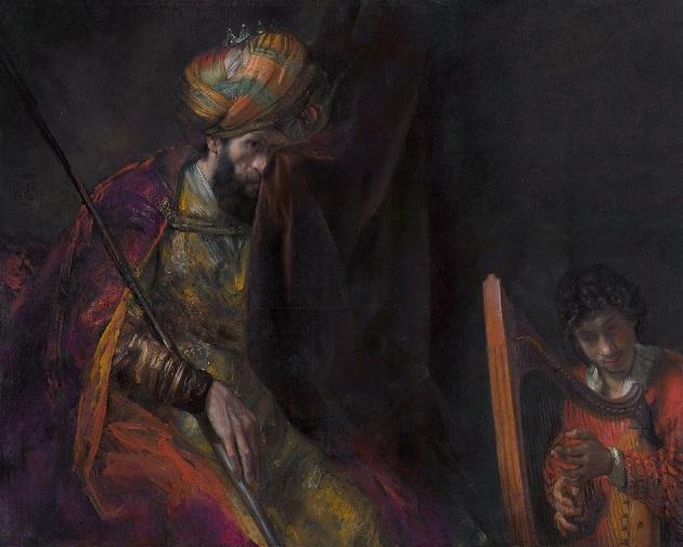 ダビデの弾く竪琴に聞き入るサウル。レンブラント・ファン・レイン画