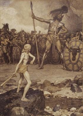 「ダビデとゴリアテ」(Osmar Schindler、1888)