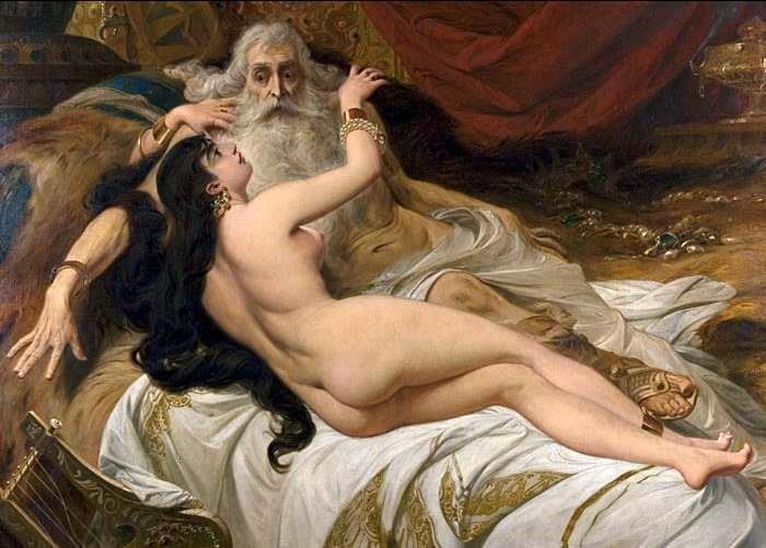 ペドロ・アメリコ 『老王ダビデを温めるアビシャグ』 1879年