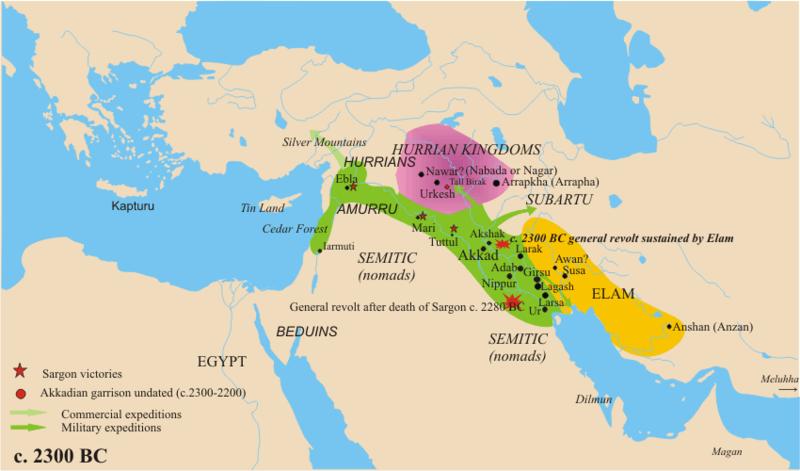 紀元前2300年頃のアッカド帝国
