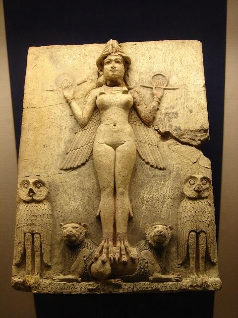 「バーニーの浮彫」。紀元前1800年~紀元前1750年頃の物と推定。イラク南部出土。テラコッタ製。