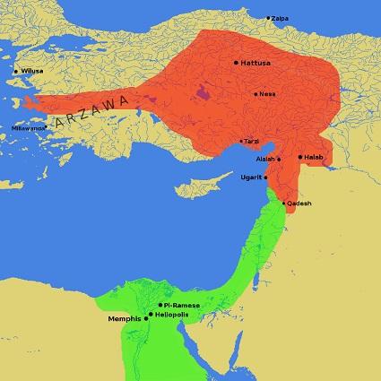 赤:ヒッタイト帝国の最大勢力圏 緑:古代エジプトの勢力圏