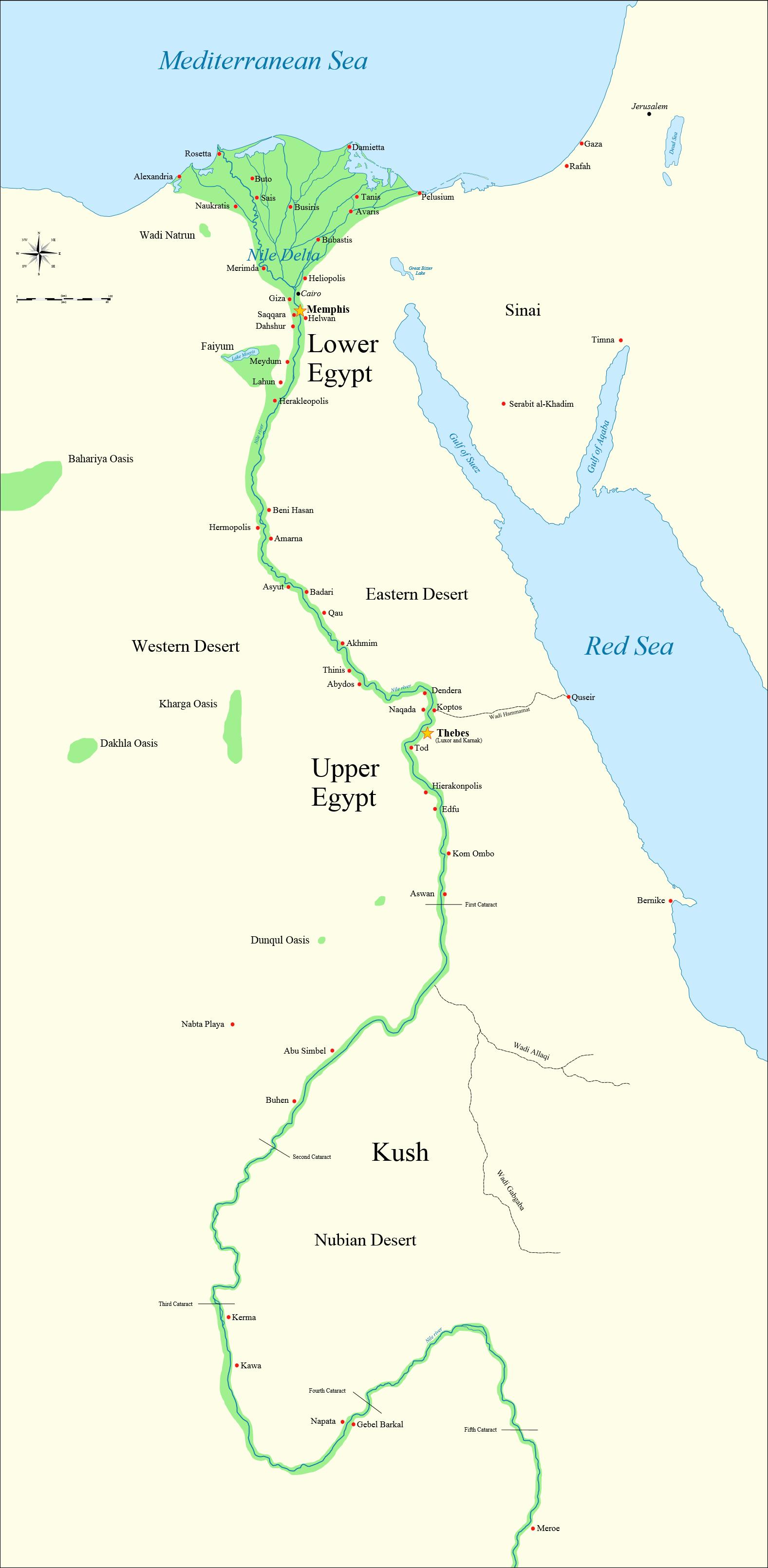紀元前3150年から紀元前30年までの王朝時代における主要都市及び場所を示した古代エジプトの地図