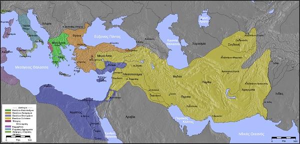 紀元前3世紀のヘレニズム諸国。アンティパトロス朝(緑)、リュシマコス朝(オレンジ)、セレウコス朝(黄)、プトレマイオス朝(青)。