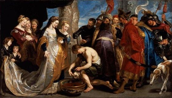 マッサゲタイ女王トミュリス(ティアラをした左から6人目の女性)とキュロスの生首。