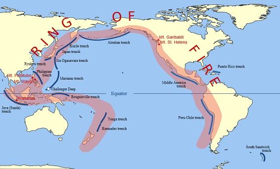 環太平洋火山帯(Ring of Fire)。青線は海溝。