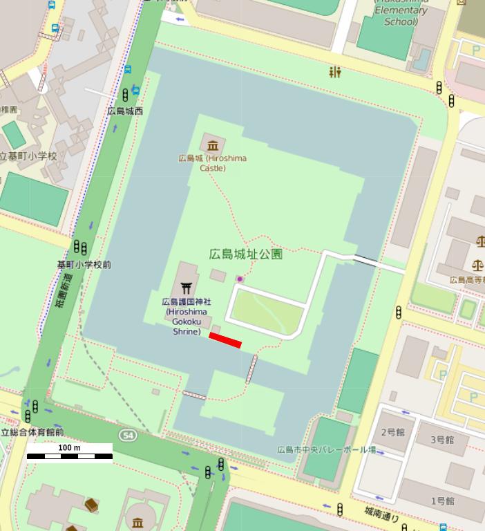 赤の矩形が中国軍管区司令部跡の位置