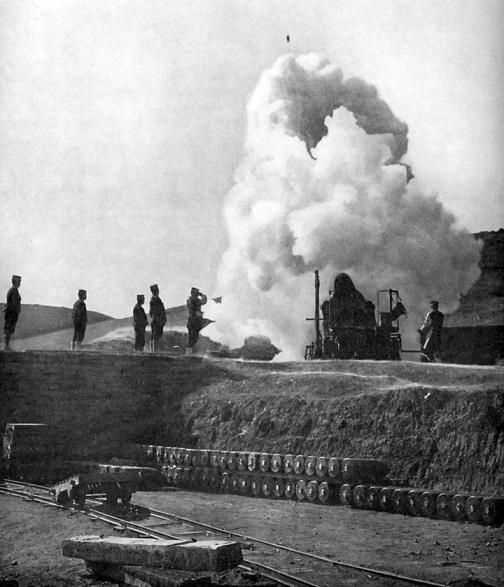 旅順要塞への28サンチ砲の砲撃