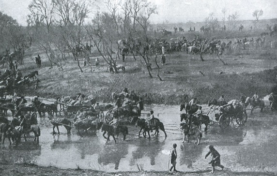 渡河を実施する奉天のロシア軍