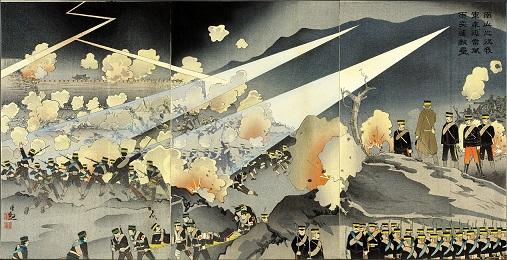 「南山之役我軍乗迅雷風雨突進敵壘」小林清親画(1904年4月)