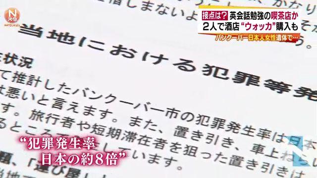 ⑮⑰①カナダの犯罪は日本の8倍!カナダのホームレス前科者アル中男シュナイダーに殺された古川夏好さんはあまり人を疑わなかったらしい!
