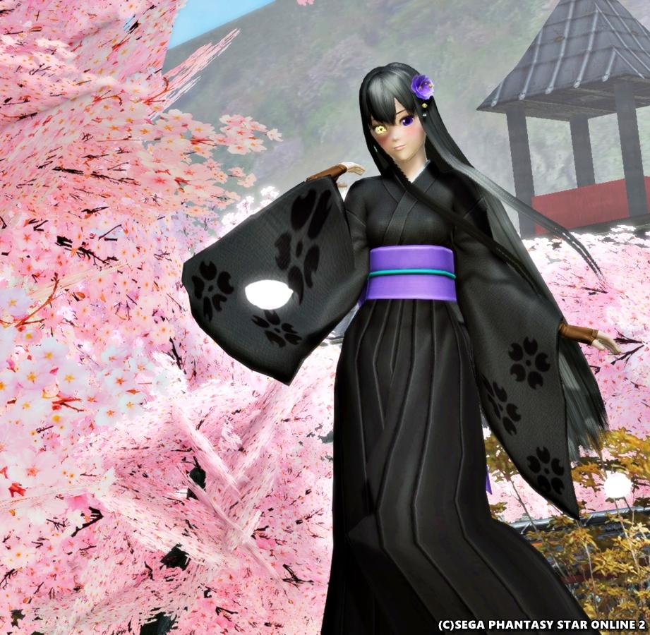 桜が映える黒着物