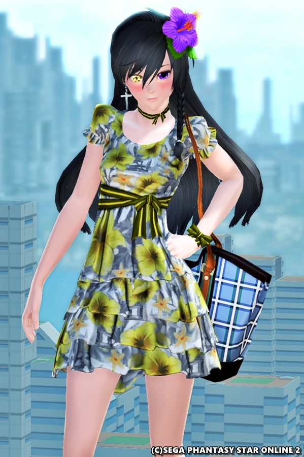 シフォンワンピースで初夏らしいファッション