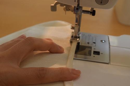 三つ折りで縫う