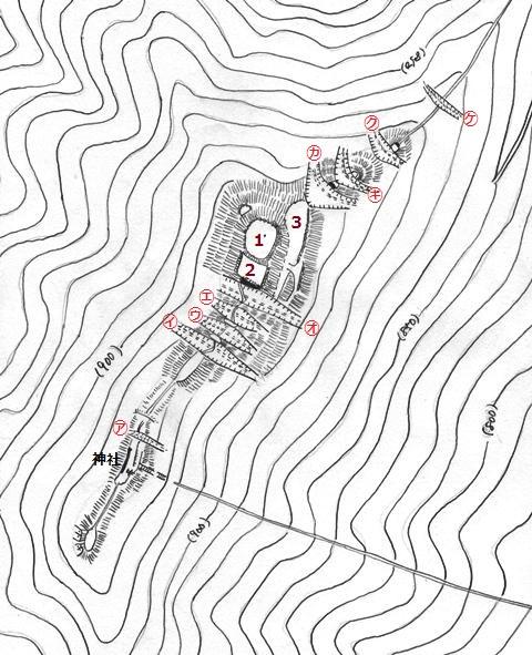 女神岳城縄張図① 001