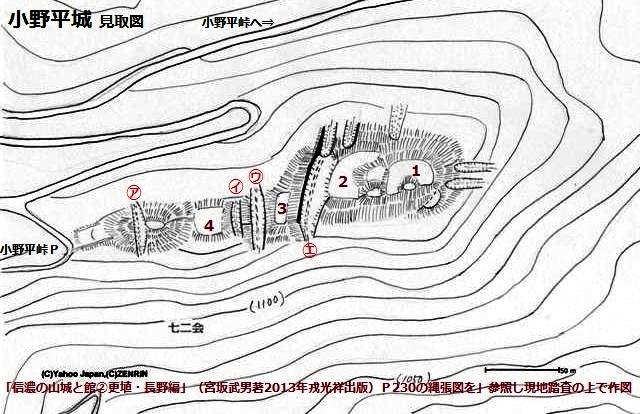小野平城縄張図①