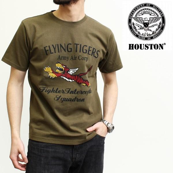 ミリタリープリント半袖クルーネックTシャツ(FLYING TIGERS) ヒューストン[HOUSTON]
