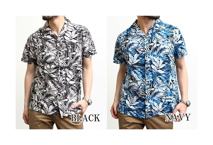 2016-08-05 ボタニカル柄半袖オープンカラーシャツ JOEY FACTORY ジョーイファクトリー 6
