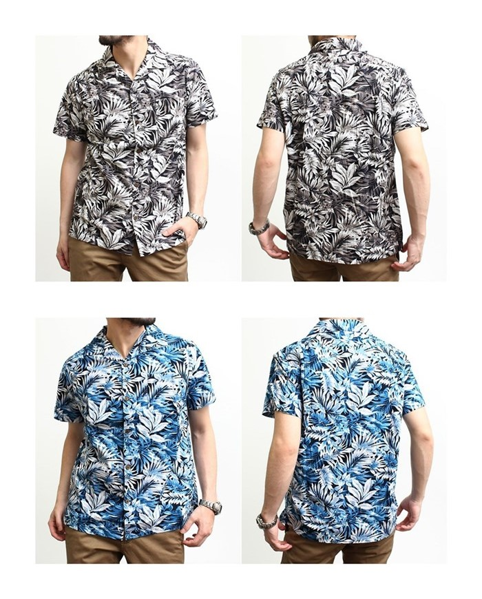 2016-08-05 ボタニカル柄半袖オープンカラーシャツ JOEY FACTORY ジョーイファクトリー 2-vert