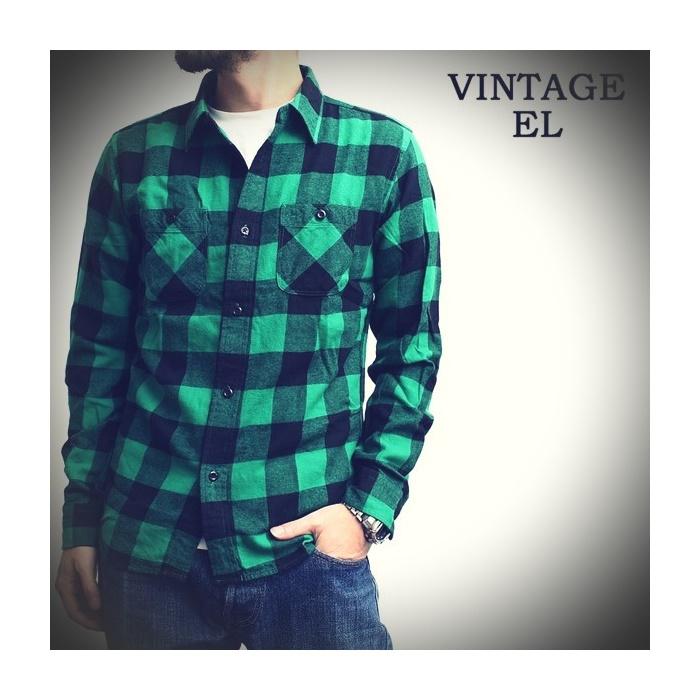2016-09-03 ブロックチェック ライトフランネル 長袖 ワークシャツ ヴィンテージイーエル VINTAGE E L 1 ビンテージ