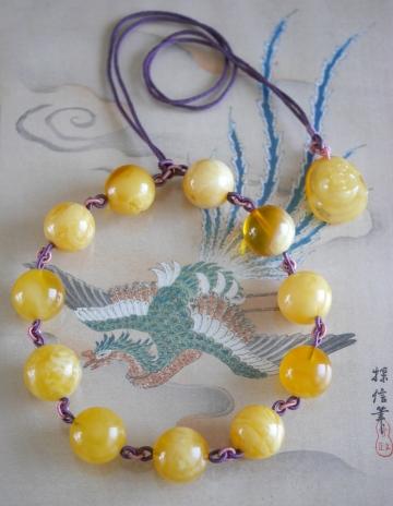 黄不透明琥珀 大玉N (2)