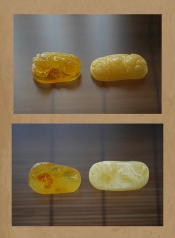 黄色い琥珀カービング素材 (2)