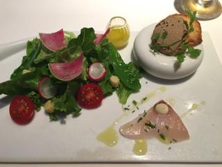 前菜3種(季節野菜のサラダ 新生姜のドレッシング・レバーペースト・魚のマリネ)