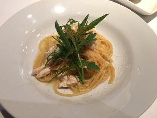 鯛と江戸菜のペペロンチーノ 夏みかんの香り