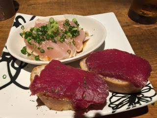 鶏わさポン酢・桜肉の生ハム