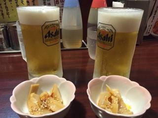 ビールとおつまみのメンマ