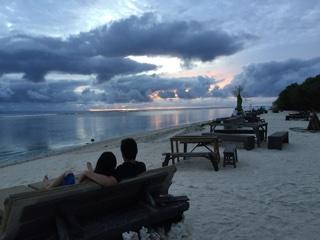 ビーチからの夕焼け