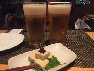 エビスビールと蟹味噌風味の玉子豆腐