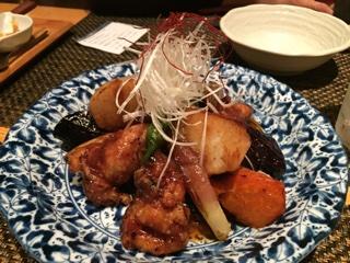 ふもと鶏と秋野菜の生姜ソース