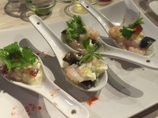 甘海老ユッケのピータン豆腐