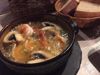 海老とジャンボマッシュルームのオイル煮