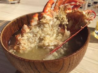 活オマール海老の味噌汁