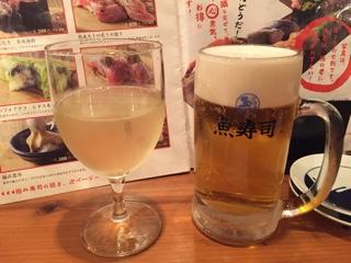 白ワインとモルツ生