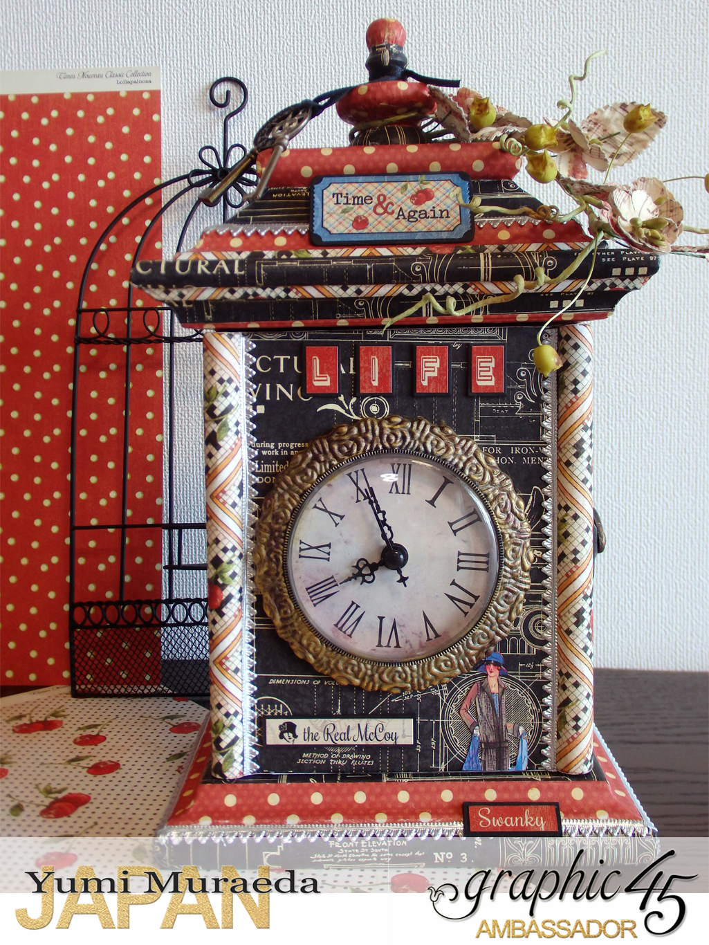 2Up Cycle Graphic45 DIY Craftpaper with Times Nouveau Secret Clock by Yumi Muraeada Product by Graphic 45 Photo