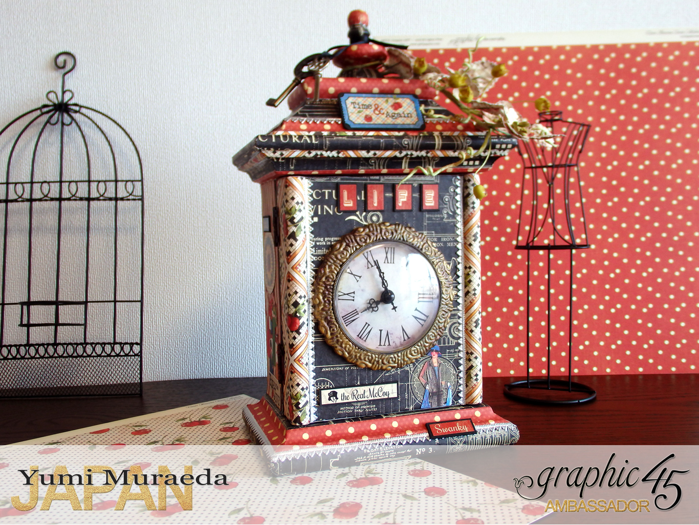 3Up Cycle Graphic45 DIY Craftpaper with Times Nouveau Secret Clock by Yumi Muraeada Product by Graphic 45 Photo