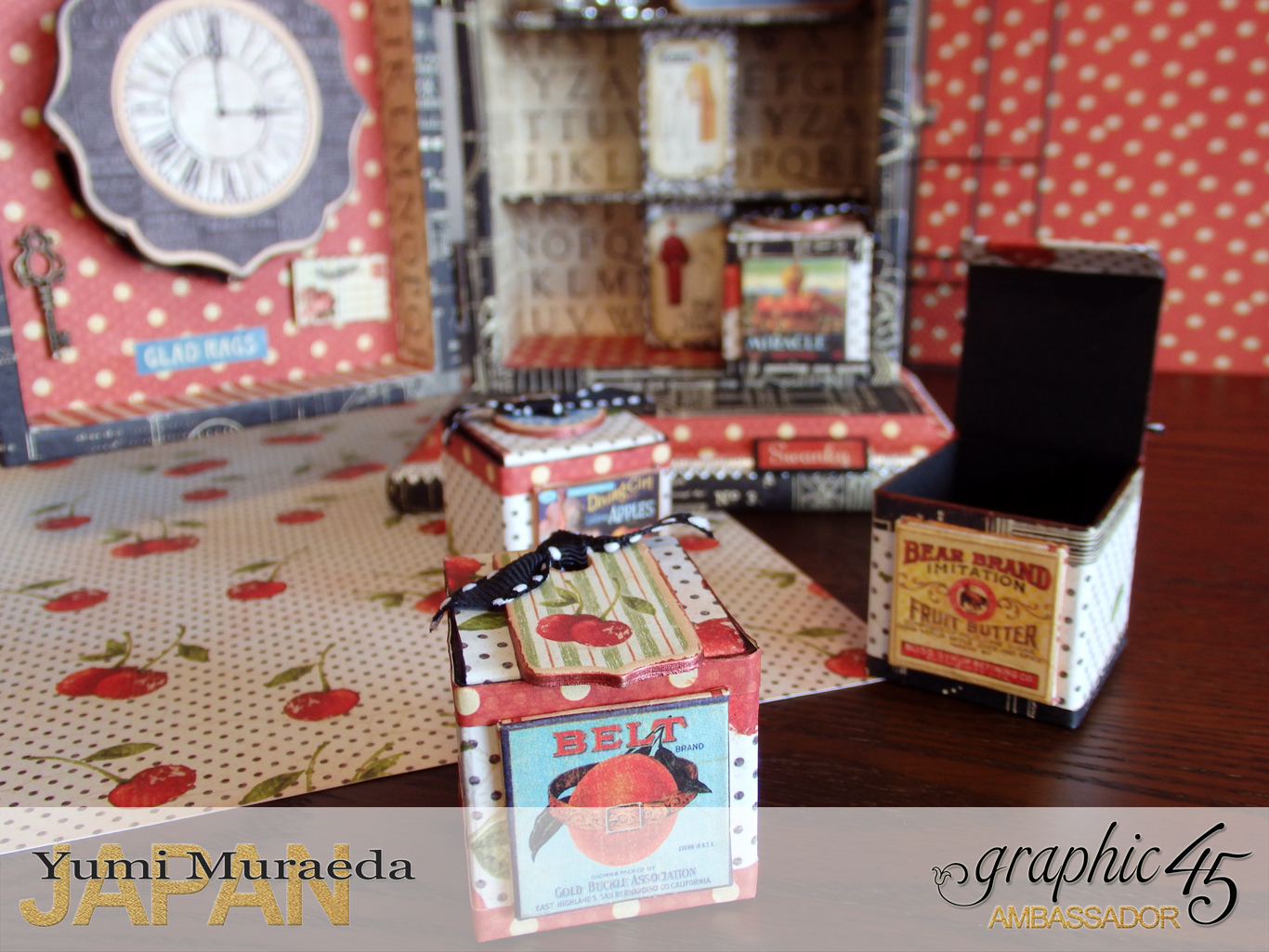8Up Cycle Graphic45 DIY Craftpaper with Times Nouveau Secret Clock by Yumi Muraeada Product by Graphic 45 Photo