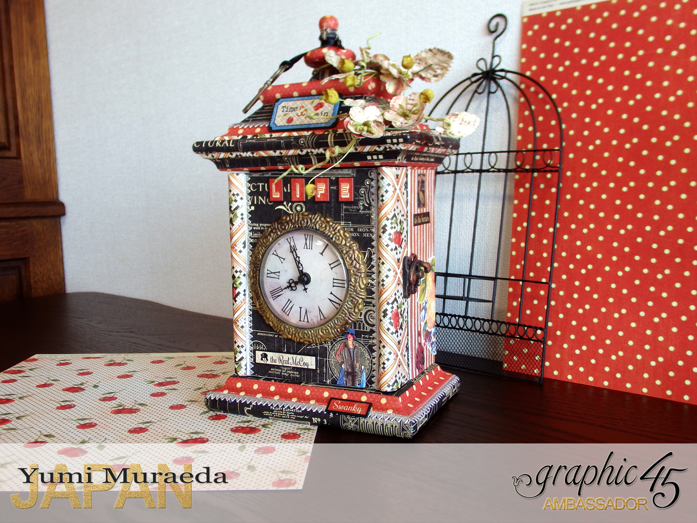 4Up Cycle Graphic45 DIY Craftpaper with Times Nouveau Secret Clock by Yumi Muraeada Product by Graphic 45 Photojpg
