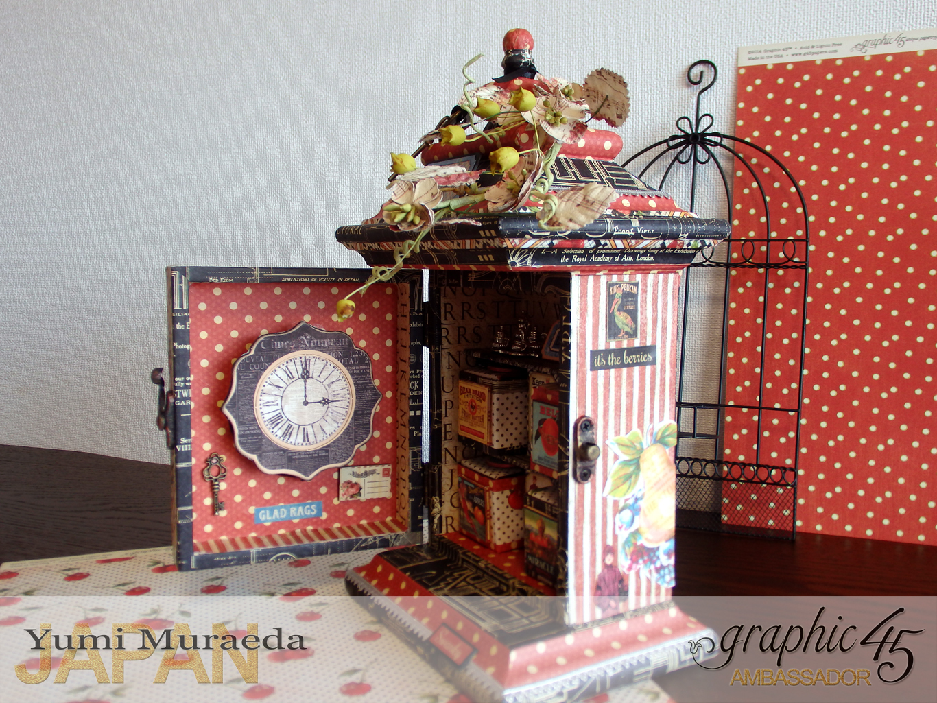 12Up Cycle Graphic45 DIY Craftpaper with Times Nouveau Secret Clock by Yumi Muraeada Product by Graphic 45 Photo