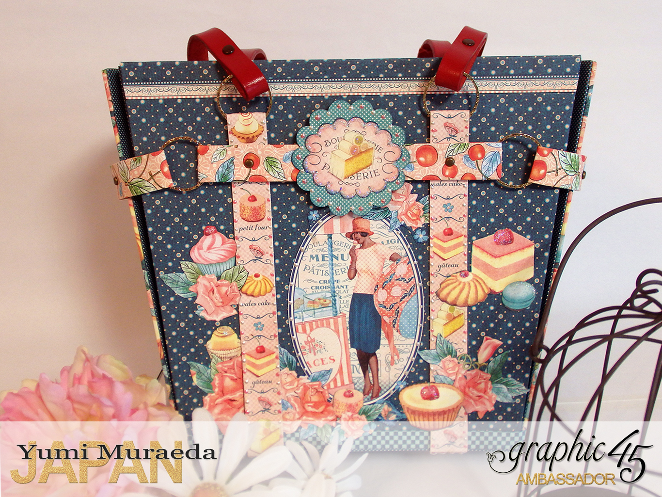 Town Tote Bag Graphic45 Cafe Parisian by Yumi Muraeada Product by Graphic 45 Photo1