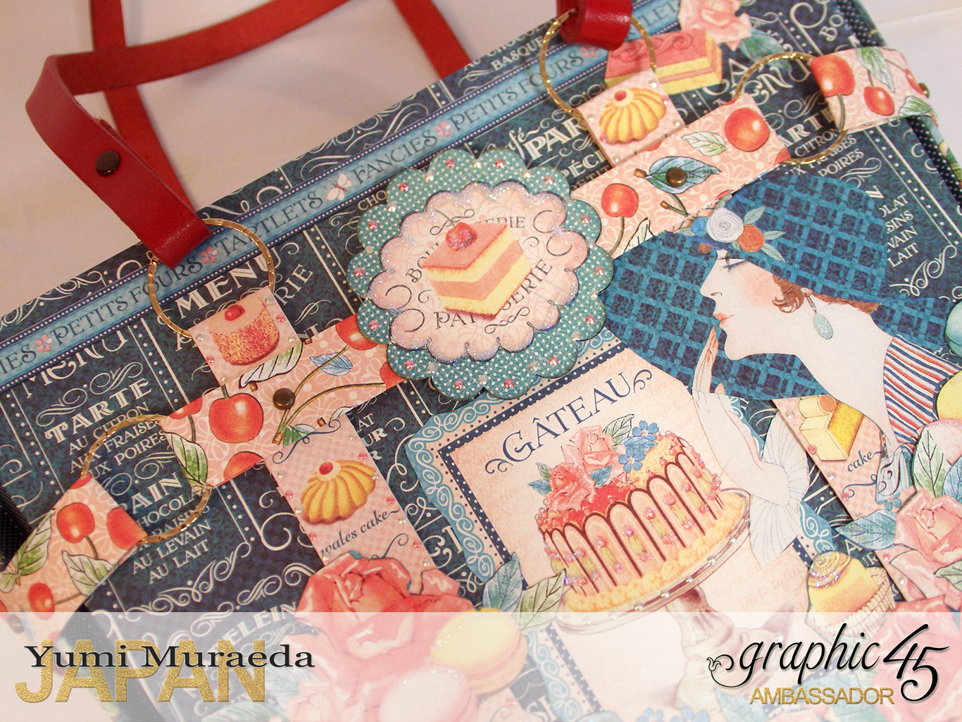 Town Tote Bag Graphic45 Cafe Parisian by Yumi Muraeada Product by Graphic 45 Photo5